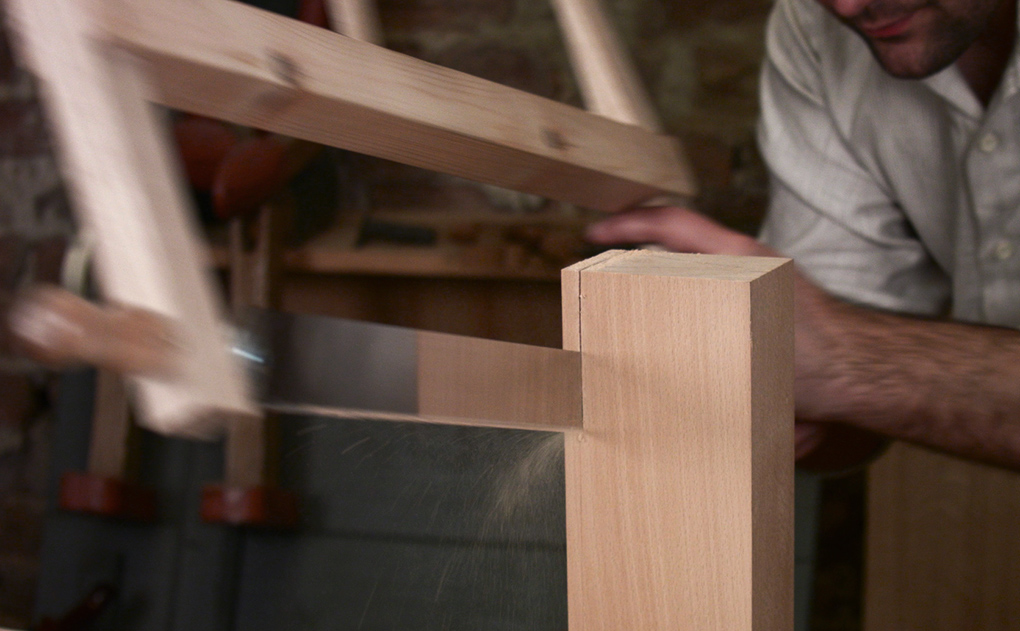 ripping beech with a frame saw