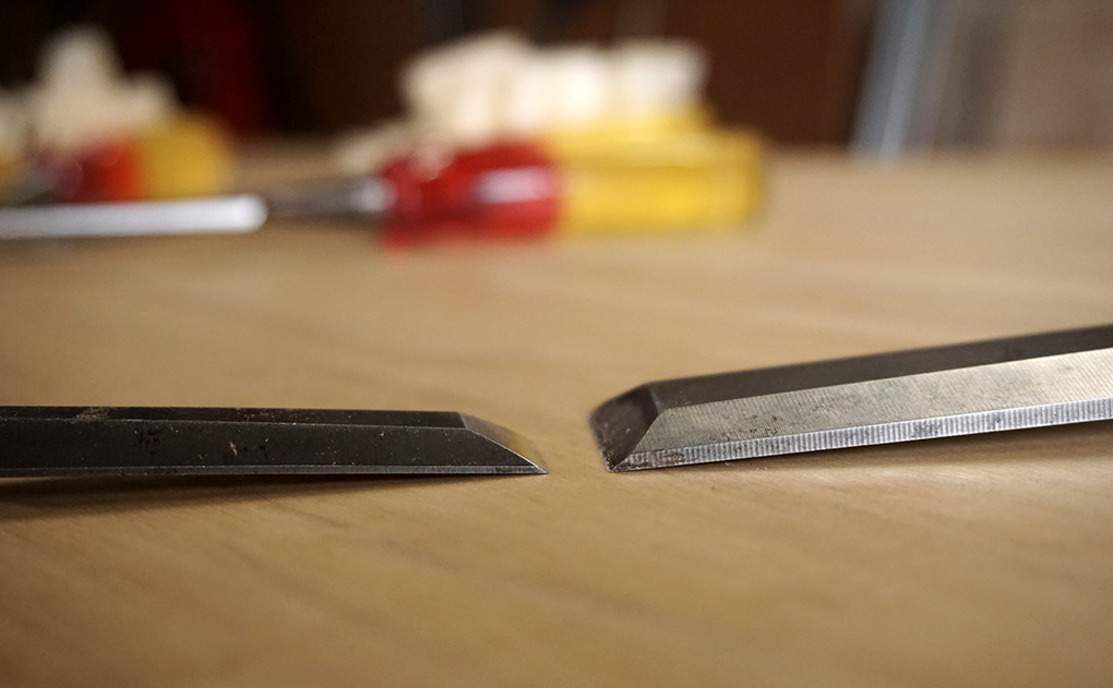 A fine bevel edged chisel (left) compared to one of my heavy duty bevel edge chisels.