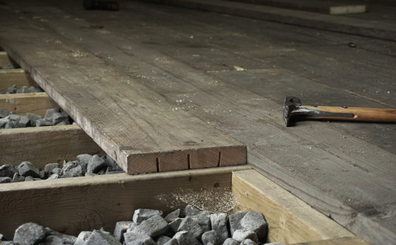 Workshop Floor From Scaffold Boards