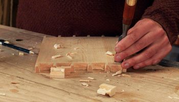 Removing waste with a fine dovetail chisel