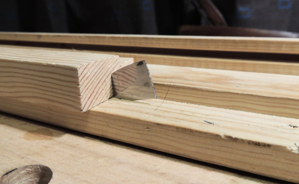 Softwood tops are perfect for sticking things in to. Which comes in handy for swift work holding such as the joiner's bench knife.