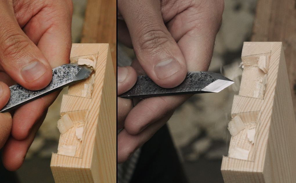 scoring half blind dovetails with a marking knife
