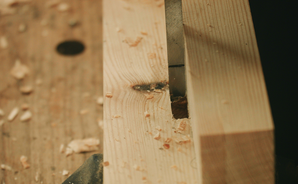 morticing with a square, narrow chisel