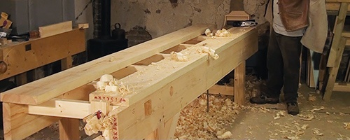 the planked workbench top